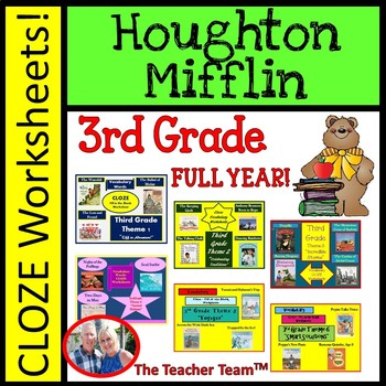 Houghton Mifflin Third Grade Cloze Worksheet Full Year Bundle for Themes 1-6