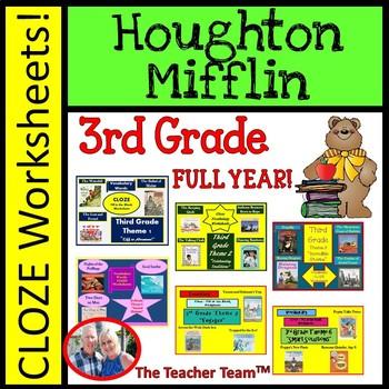 Houghton Mifflin Reading Third Grade Cloze Worksheet Bundle for Themes 1-6
