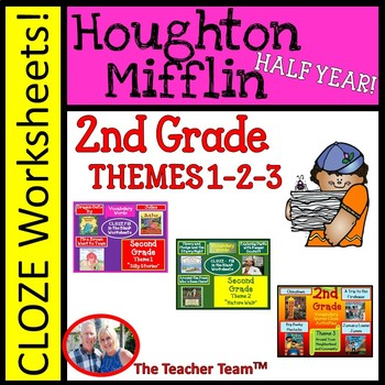 Houghton Mifflin Second Grade Cloze Worksheet Package Themes 1-2-3