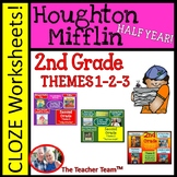 Houghton Mifflin Reading Second Grade Cloze Worksheet Package Themes 1-2-3