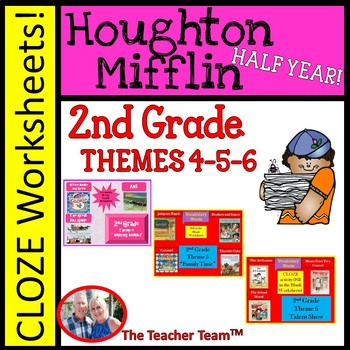 Houghton Mifflin Reading 2nd Grade Cloze Worksheet Package Themes 4-5-6