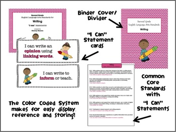 "Second Grade Color Coded Language Arts ""I Can"" Statement Cards for Writing"