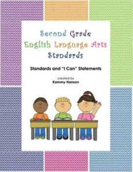 "Second Grade Color Coded Language Arts Standards and ""I Can"" Statements"