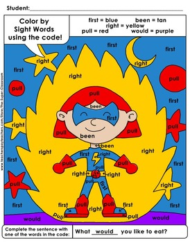Second Grade: Color by Sight Word Sentences – 005