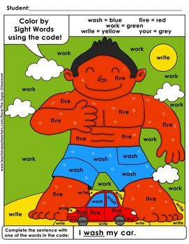 Second Grade: Color by Sight Word Sentences - 008