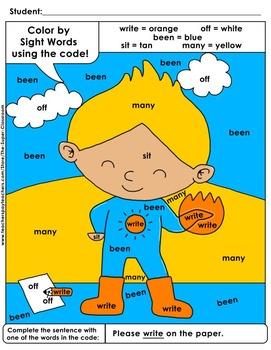 Second Grade: Color by Sight Word Sentences - 009