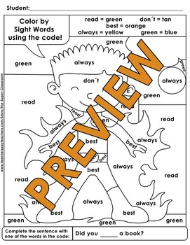 Second Grade: Color by Sight Word Sentences - 010