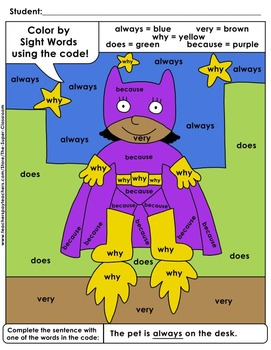 Second Grade: Color by Sight Word Sentences – 011