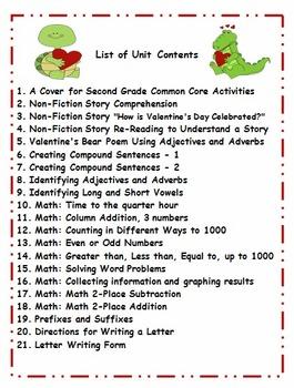 Second Grade February Valentine's Theme Activities