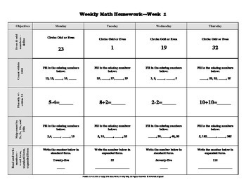 Second Grade Common Core Aligned Weekly Math Homework-Firs