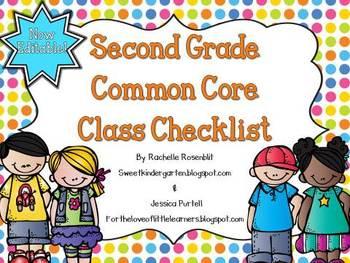 Second Grade Common Core Class Checklist {Now Editable!}