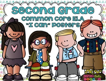 "Second Grade Common Core ELA ""I Can"" Posters {Cute Kiddos Pastel Edition}"