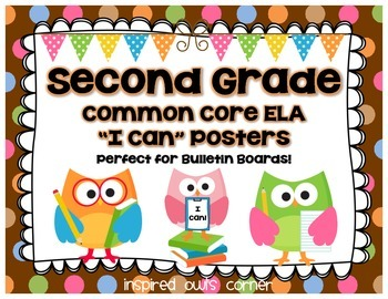 """Second Grade Common Core ELA """"I Can"""" Posters {Owl and Chocolate Dots Theme}"""