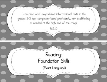 "Second Grade Common Core ELA ""I Can"" Statements (to display)"