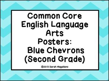 Second Grade Common Core ELA Standards Posters: Blue Chevrons