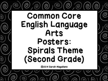 Second Grade Common Core ELA Standards Posters: Spirals