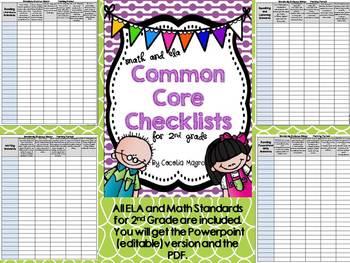 Second Grade Common Core ELA and Math Checklists-Editable