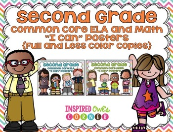 """Second Grade Common Core ELA and Math """"I Can"""" Posters {Pas"""