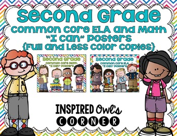 "Second Grade Common Core ELA and Math ""I Can"" Posters Bundle {Rainbow Edition}"