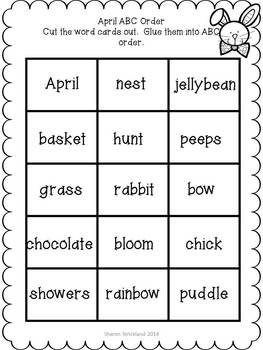 Second Grade Common Core English/Language Arts and Math Printables for April