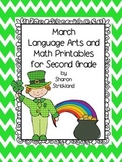 Second Grade Common Core English/Language Arts and Math Printables for March