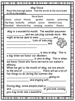 Second Grade Common Core English/Language Arts and Math Printables for May