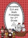 Second Grade Common Core English/Language Arts and Math Printables for November
