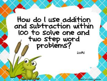 Second Grade Common Core Essential Question Posters~Green~Blue~Frog
