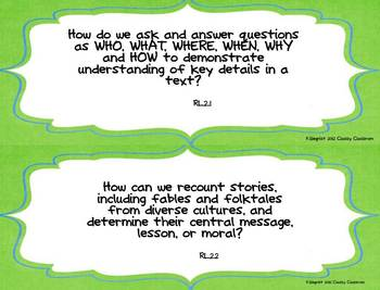 Second Grade Common Core Essential Question Posters~Green~Blue~Monsters