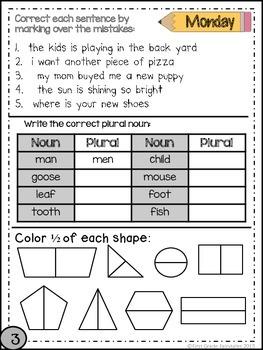 Second Grade Common Core Homework - April