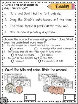 Second Grade Common Core Homework - March