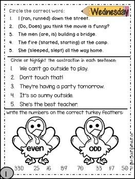 Second Grade Common Core Homework - November