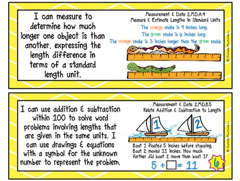 """Second Grade Common Core """"I CAN STATEMENTS"""" Pocket Chart Sized {Bright Colors}"""