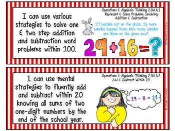 """Second Grade Common Core """"I CAN STATEMENTS"""" Pocket Chart Sized {Circus/Movie}"""