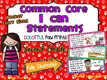 """Second Grade Common Core """"I CAN STATEMENTS"""" Pocket Chart Sized {Dog/ Paw Prints}"""
