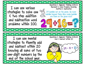 "Second Grade Common Core ""I CAN STATEMENTS"" Pocket Chart Sized {Polka Dots}"