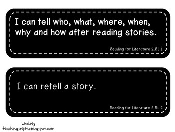"""Second Grade ELA Common Core """"I Can"""" Statement Cards"""