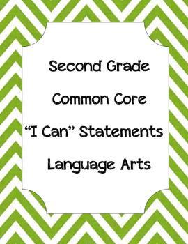 "Second Grade Common Core Language Arts ""I Can"" Statements, chevron backgroun"