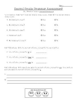 Second Grade Common Core Language Grammar Assessments
