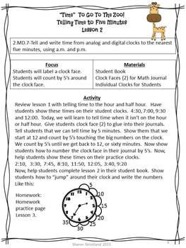 Second Grade Common Core Math-2.MD.7- Telling Time to 5 Minutes