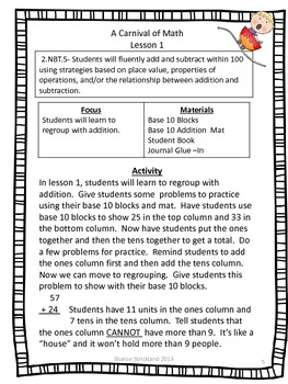 Second Grade Common Core Math-2.NBT.5-Addition and Subtraction With Regrouping