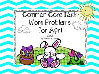 Second Grade Common Core Math-2.OA.1-April Word Problems
