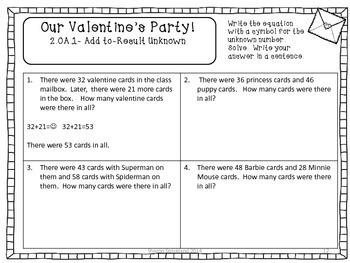 Second Grade Common Core Math-2.OA.1-February Word Problems