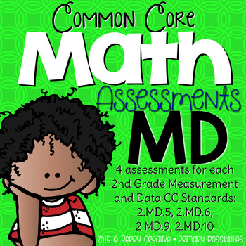 Second Grade Common Core Math Assessments Measurment & Data: 2.MD.5, 6, 9 & 10