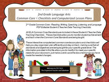 2nd Grade Common Core Math Checklists and Drop Down Lesson Plans