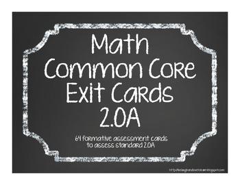 Second Grade Common Core Math Exit Cards 2.OA