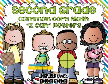 "Second Grade Common Core Math ""I Can"" Posters  Kiddos Rainbow Brights Edition}"