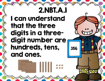 """Second Grade Common Core Math """"I Can"""" Posters  Kiddos Rainbow Brights Edition}"""