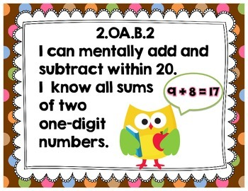 "Second Grade Common Core Math ""I Can"" Posters {Owl and Chocolate Dots Theme}"