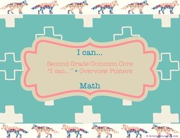 "Second Grade Common Core Math ""I can..."" Posters, Tribal/Fox Design"